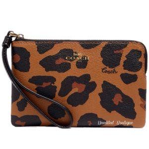 COACH Corner Zip Wristlet In Leopard Print